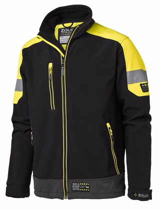 Softshell jacka arbetsjacka svart gul med reflexer