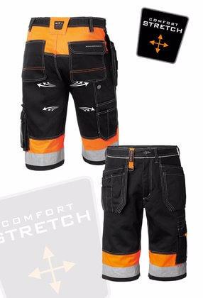 Arbetsshorts med stretch svart och orange