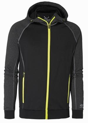 Sweatshirt hood med dragkedja svart grå och gul