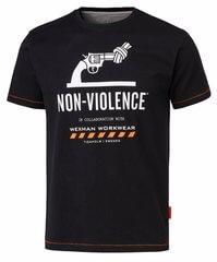 svart bomulls t-shirt med tryck